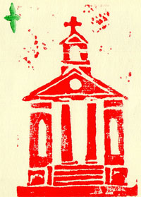 Mike Newmans Block print of St. Peter's Christmas